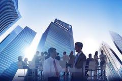 城市Scape企业队配合会议合作概念 库存照片