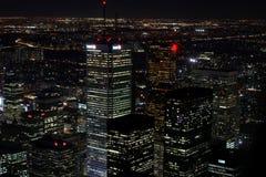 城市scape在多伦多,加拿大晚上  免版税库存照片