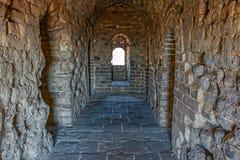 城楼内部在伟大的中国墙壁上的 免版税库存照片