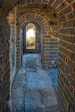 城楼内部在伟大的中国墙壁上的 库存照片
