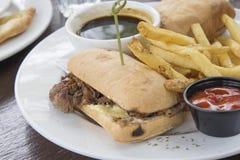 费城牛肉乳酪牛排三明治特写镜头 库存图片