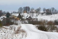 城镇冬天 免版税图库摄影