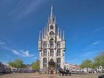 城镇厅和在荷兰扁圆形干酪,荷兰的一个马支架 库存图片