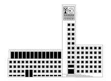城镇厅在斯图加特,在平的设计的门面 库存例证