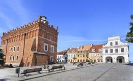 城镇厅在维斯瓦河的,波兰桑多梅日 库存照片