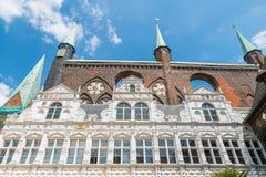 城镇厅在Luebeck,德国 库存图片