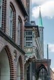 城镇厅在Luebeck,德国 库存照片