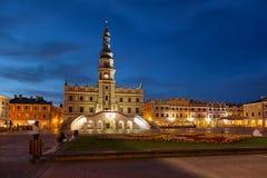 城镇厅在Zamosc 免版税库存照片