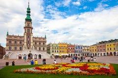 城镇厅在Zamosc 免版税图库摄影