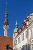 城镇厅塔。老塔林,爱沙尼亚 免版税库存照片