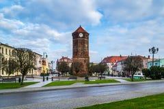 城镇厅塔在Znin,波兰 免版税图库摄影