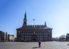 城镇厅正方形丹麦哥本哈根 库存图片