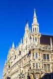 城镇厅的细节Marienplatz的,慕尼黑 免版税库存图片