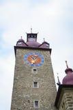城镇厅钟楼在卢赛恩在瑞士 图库摄影