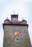 城镇厅钟楼在卢赛恩在瑞士 免版税库存图片