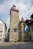 城镇厅钟楼在卢赛恩 库存照片