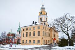 城镇厅,哈米纳,芬兰门面  库存照片
