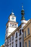 城镇厅- Trebon,捷克塔  库存图片