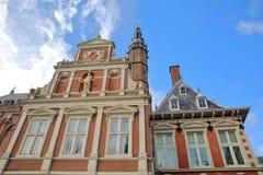 城镇厅Stadhuis的华丽和五颜六色的建筑学在哈莱姆 免版税库存照片