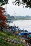 城镇夏恩和移居缅甸工作者港  免版税图库摄影