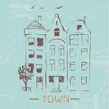 城镇 传染媒介手拉的剪影 图库摄影