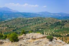 城镇Mycenae废墟,希腊 库存图片