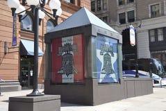 费城, 8月4日:历史建筑证券交易所从费城的购物中心入口在宾夕法尼亚 库存图片