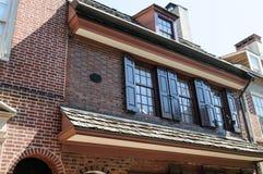 费城, PA - 5月14日:历史的耶路撒冷旧城在费城,宾夕法尼亚 Elfreth ` s胡同,指 免版税库存图片