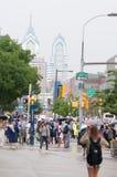 费城, PA - 6月13日:西部费城的大学城市部分的卓克索大学校园毕业的 免版税图库摄影