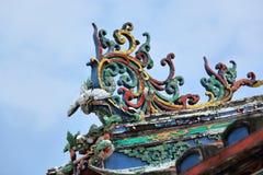 城Hoon滕国寺庙装饰的屋顶在马六甲 免版税库存照片