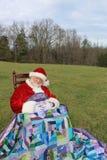 域开放晃动的圣诞老人休眠 免版税库存图片