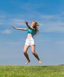 域愉快的上涨妇女年轻人 免版税库存照片