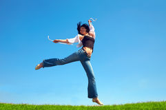 域愉快的上涨妇女 免版税库存照片