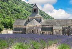 域法国淡紫色普罗旺斯 与med的美好的风景 免版税库存照片