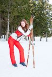 域滑雪体育诉讼妇女 免版税库存图片