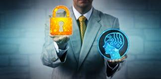 培养在AI系统上的顾问被锁的挂锁 库存图片