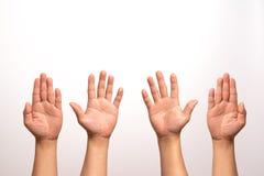 培养手在白色背景的,被留下的和右手培养孤立在四行动 免版税库存图片