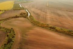 培养的简单的风景鸟瞰图  免版税库存照片