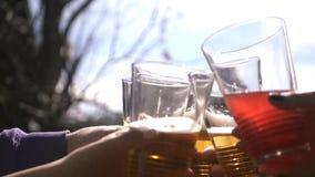 培养酒杯的朋友吃敬酒和喝不同的饮料的欢乐晚餐反对天空和太阳 免版税图库摄影