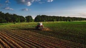 培养领域的拖拉机在春天 图库摄影
