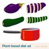 基于植物的饮食食物和一个红色平底锅 整个和切的茄子和夏南瓜 动画片重点极性集向量 皇族释放例证