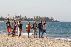 基于海滩的马达加斯加人的少年男孩 库存图片