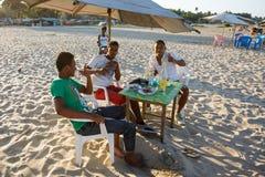 基于海滩的马达加斯加人的少年男孩 免版税图库摄影