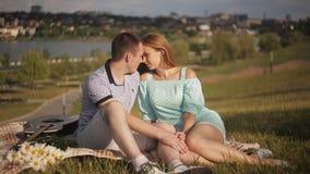 基于绿草的年轻爱恋的夫妇在公园以城市为背景 股票视频