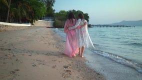 基于美丽的热带海滩的愉快的女性女同性恋的夫妇 LGBT的概念 股票录像