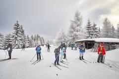 基于足迹交叉点的横穿全国的滑雪者 图库摄影