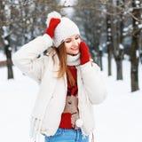 基于雪的被编织的葡萄酒衣物的年轻时髦的女孩 库存照片