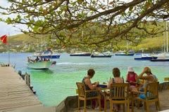 贝基亚岛-沿海岸区看法  免版税库存图片