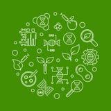 基因上修改过的有机体传染媒介圆的线例证 库存例证