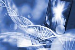基因链子的图象在键盘背景的 免版税库存图片